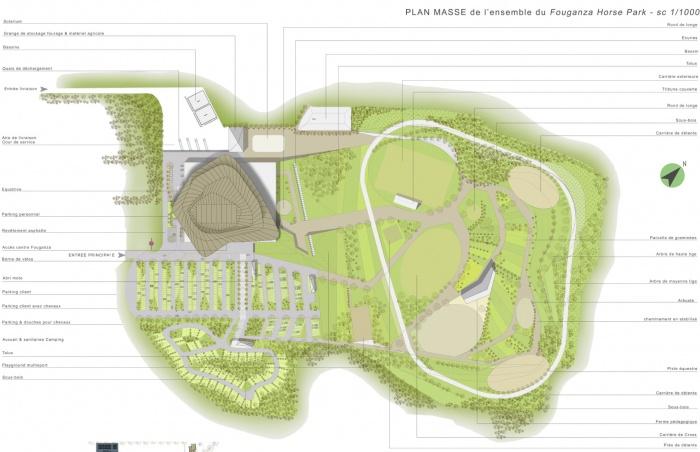 Fouganza Horse Park / Projet lauréat : plan masse Fouganza PPIL