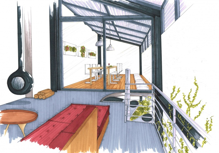 Extension d'une habitat, concours non retenu : vue R+1
